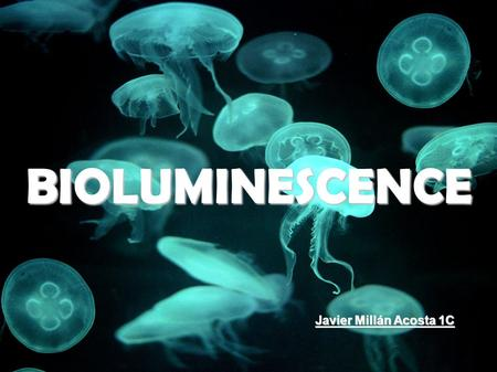 BIOLUMINESCENCE Javier Millán Acosta 1C. ORIGINS OF THE WORD Like lots of english scientific words, 'bioluminiscence' comes from another languages. It.