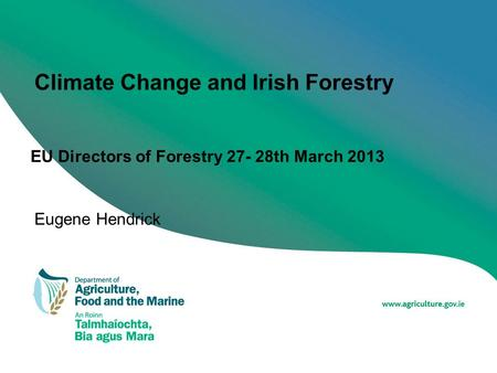 Climate Change and Irish Forestry EU Directors of Forestry 27- 28th March 2013 Eugene Hendrick.