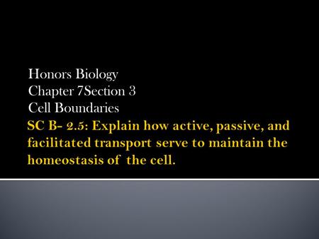 Honors Biology Chapter 7Section 3 Cell Boundaries.