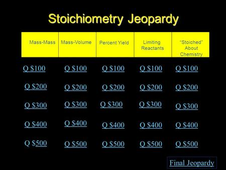 "Stoichiometry Jeopardy Mass-MassMass-Volume Percent Yield Limiting Reactants ""Stoiched"" About Chemistry Q $100 Q $200 Q $300 Q $400 Q $500500 Q $100 Q."