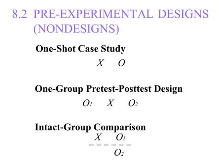 8.2 PRE-EXPERIMENTAL DESIGNS (NONDESIGNS) One-Shot Case Study X O One-Group Pretest-Posttest Design O 1 X O 2 Intact-Group Comparison X O 1 ─ ─ ─ O 2.