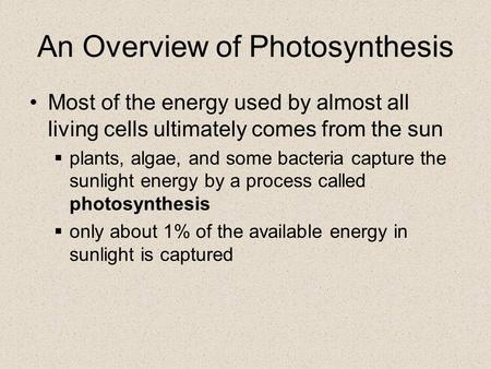 An Overview of Photosynthesis Most of the energy used by almost all living cells ultimately comes from the sun  plants, algae, and some bacteria capture.