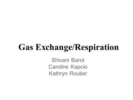 Gas Exchange/Respiration