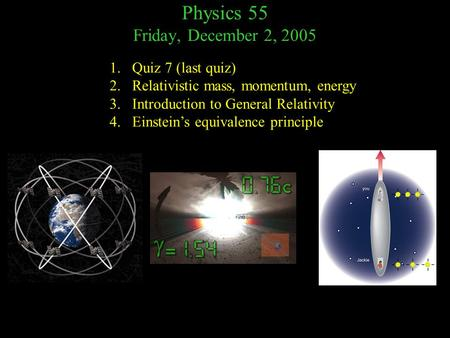 Physics 55 Friday, December 2, 2005 1.Quiz 7 (last quiz) 2.Relativistic mass, momentum, energy 3.Introduction to General Relativity 4.Einstein's equivalence.