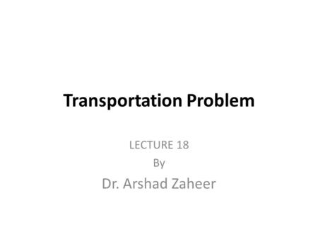 transportation and assignment problem in operations research pdf