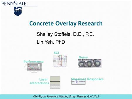 FAA Airport Pavement Working Group Meeting, April 2012 1 1 Concrete Overlay Research Shelley Stoffels, D.E., P.E. Lin Yeh, PhD FAA Airport Pavement Working.