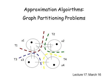 Approximation Algoirthms: Graph Partitioning Problems Lecture 17: March 16 s1 s3 s4 s2 T1 T4 T2 T3.