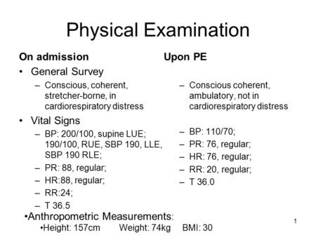 1 Physical Examination On admission General Survey –Conscious, coherent, stretcher-borne, in cardiorespiratory distress Vital Signs –BP: 200/100, supine.