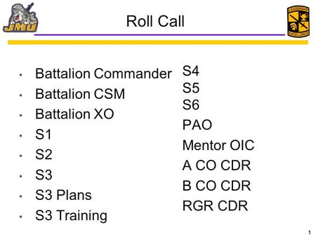 Roll Call S4 Battalion Commander S5 Battalion CSM S6 Battalion XO PAO
