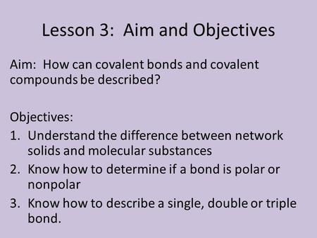 Lesson 3: Aim and Objectives