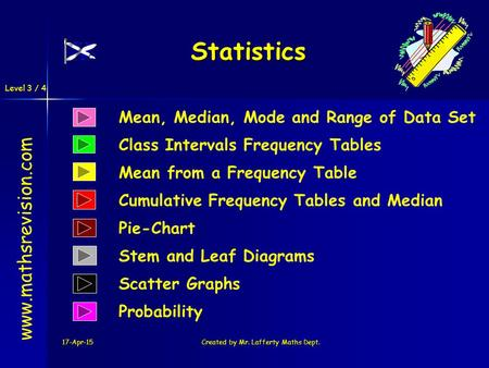 Level 3 / 4 17-Apr-15Created by Mr. Lafferty Maths Dept. Statistics Mean, Median, Mode and Range of Data Set Class Intervals Frequency Tables www.mathsrevision.com.