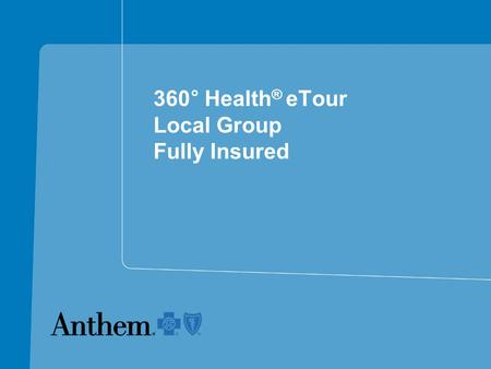 360 ° Health ® eTour Local Group Fully Insured. U.S. Obesity Trends in Adults 19912006 No Data <10% 10%–14% 15%–19% 20%–24% 25%–29% ≥30% 65% of Americans.