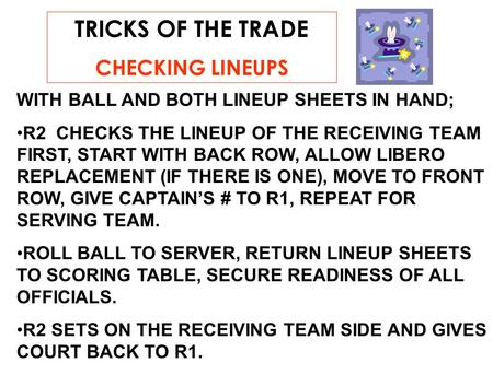 TRICKS OF THE TRADE CHECKING LINEUPS WITH BALL AND BOTH LINEUP SHEETS IN HAND; R2 CHECKS THE LINEUP OF THE RECEIVING TEAM FIRST, START WITH BACK ROW, ALLOW.