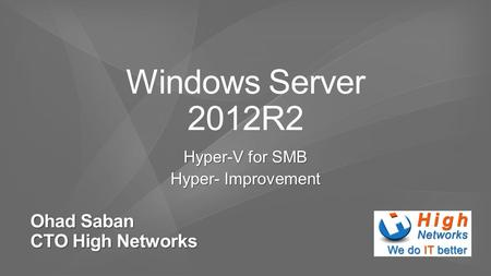 Ohad Saban CTO High Networks. A compression engine is built into Live Migration in Windows Server 2012 R2 Hyper-V. The CPU in hosts is often underused.