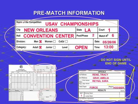 1 PRE-MATCH INFORMATION USAV CHAMPIONSHIPS NEW ORLEANSLA1 CONVENTION CENTER 2 6 x x OPEN 05/26/06 13 00 RENE, TRACY REYNA, SARA GRAY, AMELIA HOOSIER FORCE.