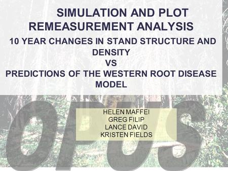 SIMULATION AND PLOT REMEASUREMENT ANALYSIS 10 YEAR CHANGES IN STAND STRUCTURE AND DENSITY VS PREDICTIONS OF THE WESTERN ROOT DISEASE MODEL HELEN MAFFEI.