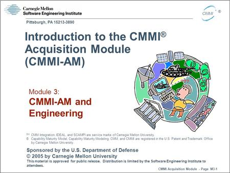 Pittsburgh, PA 15213-3890 CMMI Acquisition Module - Page M3-1 CMMI ® Sponsored by the U.S. Department of Defense © 2005 by Carnegie Mellon University This.