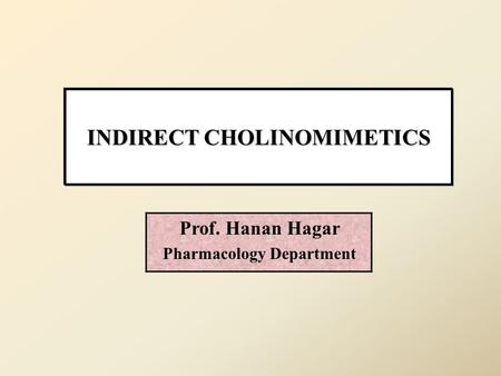 INDIRECT CHOLINOMIMETICS Prof. Hanan Hagar Pharmacology Department.