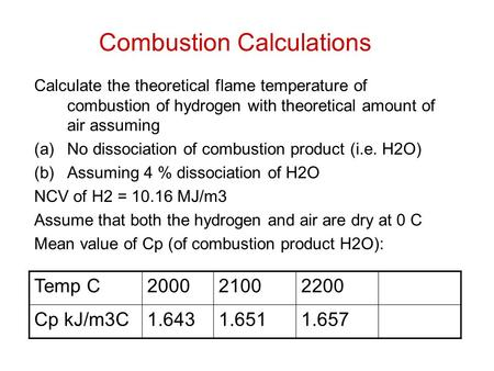 Combustion Calculations Calculate the theoretical flame temperature of combustion of hydrogen with theoretical amount of air assuming (a)No dissociation.