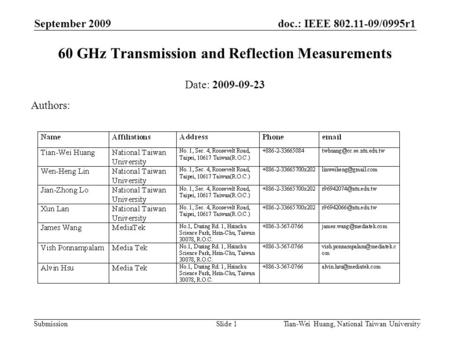 Doc.: IEEE 802.11-09/0995r1 Submission September 2009 Tian-Wei Huang, National Taiwan UniversitySlide 1 60 GHz Transmission and Reflection Measurements.