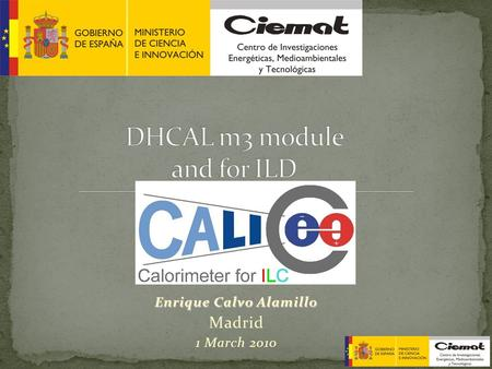 Enrique Calvo Alamillo Madrid 1 March 2010. Index: 1.Proposal for a DHCAL m3 module. 2.Numerical simulations for a m3 module. 3.Extrapolation of the m3.