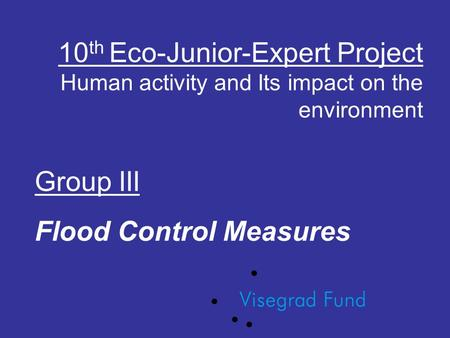 10 th Eco-Junior-Expert Project Human activity and Its impact on the environment Group III Flood Control Measures.