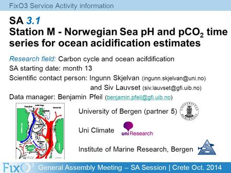 General Assembly Meeting – SA Session | Crete Oct. 2014 SA 3.1 Station M - Norwegian Sea pH and pCO 2 time series for ocean acidification estimates Research.