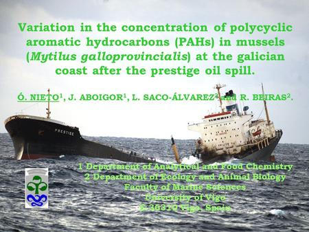 Variation in the concentration of polycyclic aromatic hydrocarbons (PAHs) in mussels ( Mytilus galloprovincialis ) at the galician coast after the prestige.