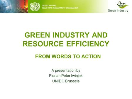 GREEN INDUSTRY AND RESOURCE EFFICIENCY A presentation by Florian Peter Iwinjak UNIDO Brussels FROM WORDS TO ACTION.