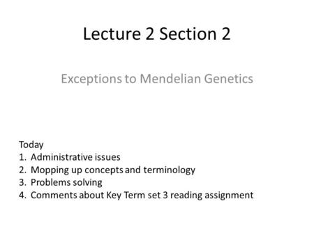 handbook section basic genetics