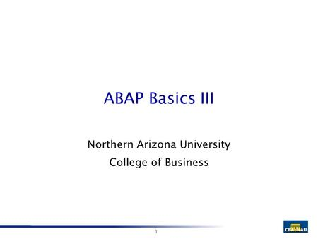 1 ABAP Basics III Northern Arizona University College of Business.