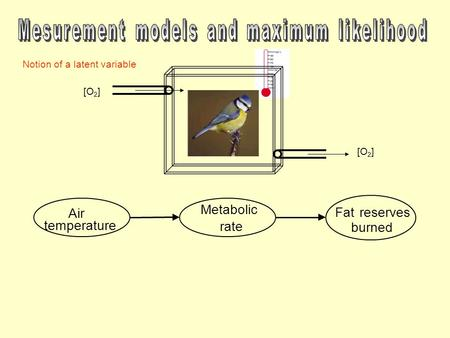 Air temperature Metabolic rate Fatreserves burned Notion of a latent variable [O 2 ]