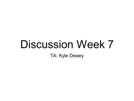 Discussion Week 7 TA: Kyle Dewey. Overview Midterm debriefing Virtual memory Virtual Filesystems / Disk I/O Project #3.