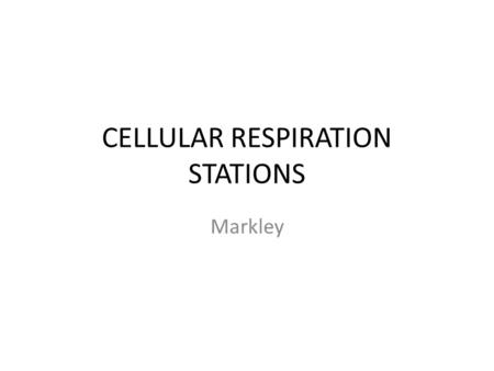 CELLULAR RESPIRATION STATIONS Markley. STATION 1: OVERVIEW.