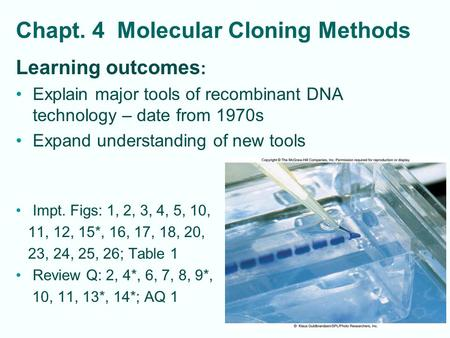 Chapt. 4 Molecular Cloning Methods Learning outcomes : Explain major tools of recombinant DNA technology – date from 1970s Expand understanding of new.
