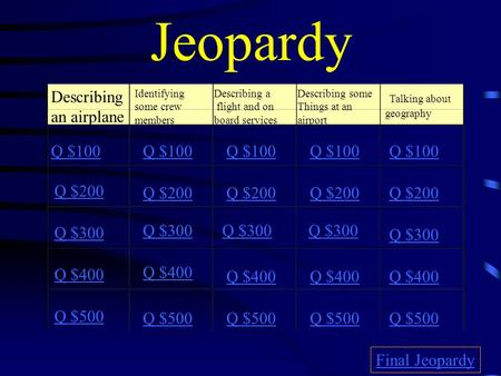 Jeopardy Describing an airplane Identifying some crew members Describing a flight and on board services Describing some Things at an airport Talking about.