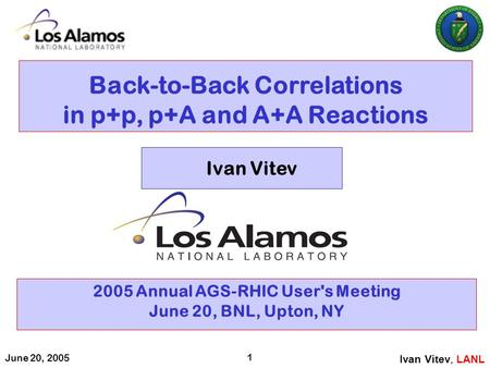 June 20, 2005 1 Back-to-Back Correlations in p+p, p+A and A+A Reactions 2005 Annual AGS-RHIC User's Meeting June 20, BNL, Upton, NY Ivan Vitev, LANL Ivan.