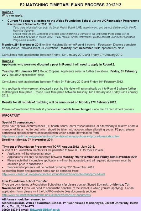 F2 MATCHING TIMETABLE AND PROCESS 2012/13 Round 1 Who can apply: Current F1 doctors allocated to the Wales Foundation School via the UK Foundation Programme.