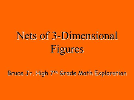 Nets of 3-Dimensional Figures Bruce Jr. High 7 th Grade Math Exploration.