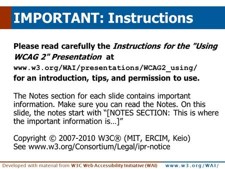 Developed with material from W3C Web Accessibility Initiative (WAI) www.w3.org/WAI/ IMPORTANT: Instructions Please read carefully the Instructions for.