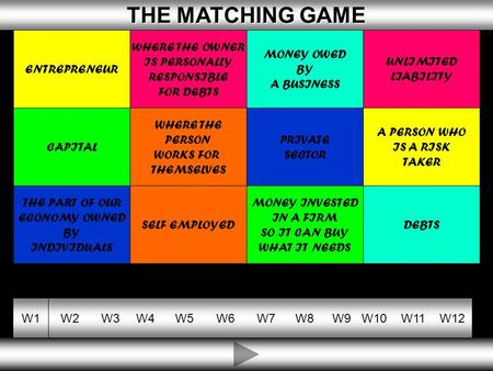 10 THE MATCHING GAME THE MATCHING GAME W1W2W3W4W5W6W7W8W9W10W11W12 ENTREPRENEUR WHERE THE OWNER IS PERSONALLY RESPONSIBLE FOR DEBTS MONEY OWED BY A BUSINESS.
