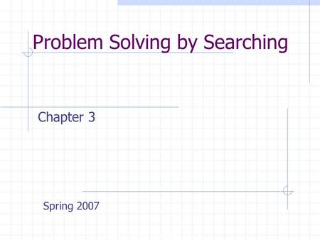 Problem Solving by Searching Copyright, 1996 © Dale Carnegie & Associates, Inc. Chapter 3 Spring 2007.