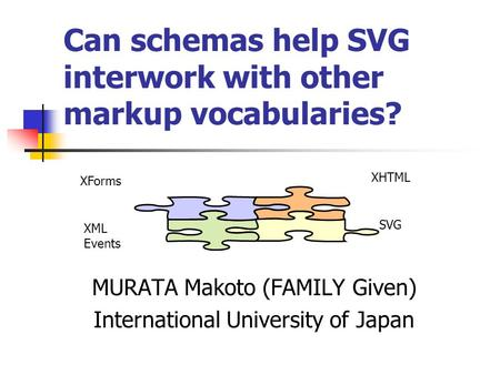 Can schemas help SVG interwork with other markup vocabularies? MURATA Makoto (FAMILY Given) International University of Japan XHTML XForms SVG XML Events.
