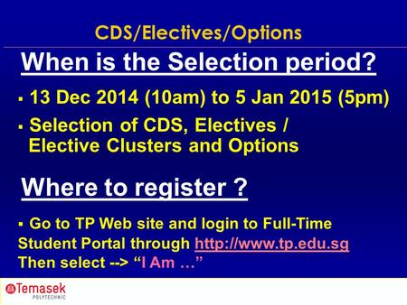 Subject Selection (9 Jun 2012, 10am to 27 Jun 2012, 5pm)