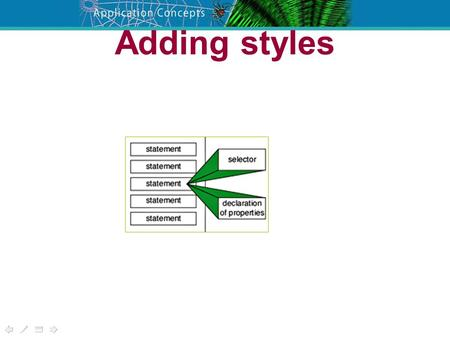 Adding styles. Three alternatives HIT151 Web 'n' Net Web Page Basics /*stylesheet*/ h1,h2,h3 { font-family: verdana, arial, 'sans serif'; } p,table,li.
