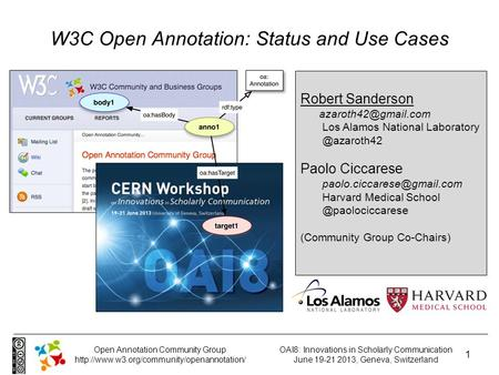 OAI8: Innovations in Scholarly Communication June 19-21 2013, Geneva, Switzerland 1 Open Annotation Community Group