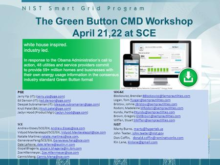 The Green Button CMD Workshop April 21,22 at SCE