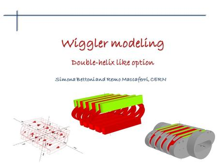 Simona Bettoni and Remo Maccaferri, CERN Wiggler modeling Double-helix like option.