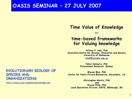 EVOLUTIONARY BIOLOGY OF SPECIES AND ORGANIZATIONS  1 OASIS SEMINAR – 27 JULY 2007 Time Value of Knowledge — time-based.