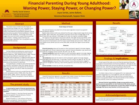 Financial Parenting During Young Adulthood: Waning Power, Staying Power, or Changing Power? Joyce Serido, Jaime Ballard, Veronica Deenanath, Soyeon Shim.